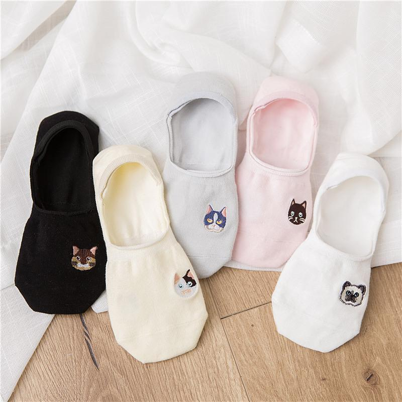 itGirl Shop CUTE KITTY SILICONE PAW EMBROIDERIES LOW SOCKS