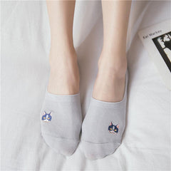 CUTE KITTY SILICONE PAW EMBROIDERIES LOW SOCKS