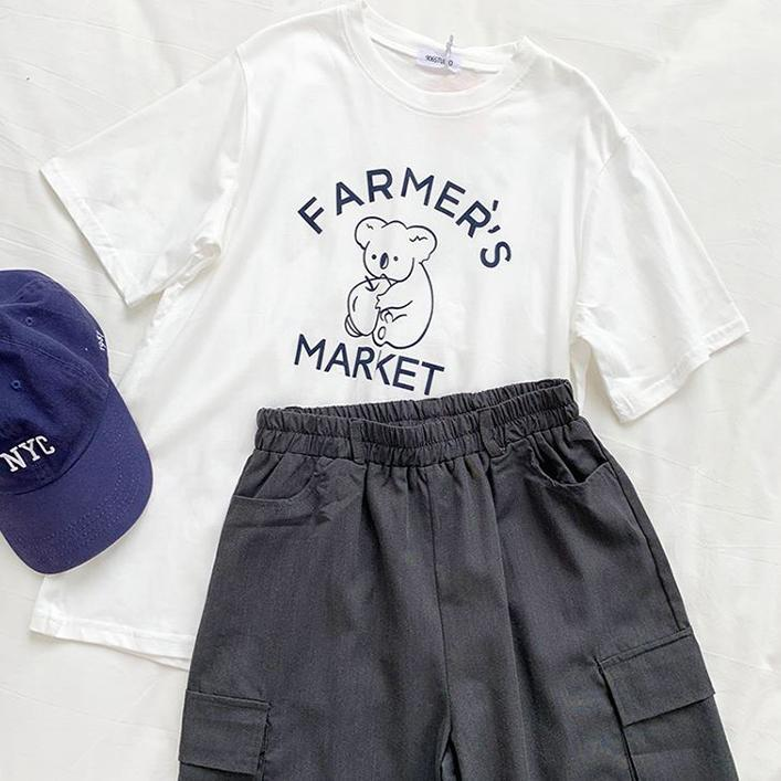 CUTE KOALA BEAR T-SHIRT + ELASTIC WAIST BASIC SHORTS 2 PIECE SET