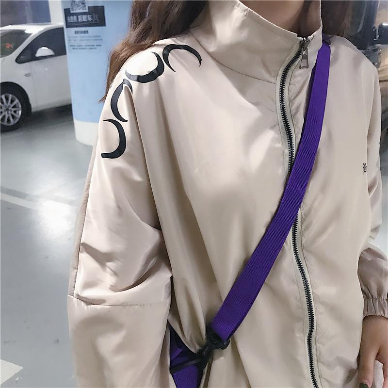 itGirl Shop CUTE MOONS PATTERN WINDBREAKER SPORTY CREAMY JACKET