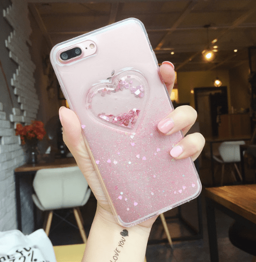 itGirl Shop CUTE PASTEL COLORS TRANSPARENT HEART IPHONE COVER