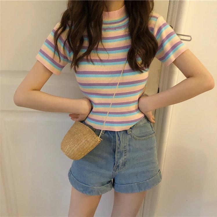 itGirl Shop CUTE PASTEL STRIPES O-NECK SHORT SLEEVE SUMMER T-SHIRT