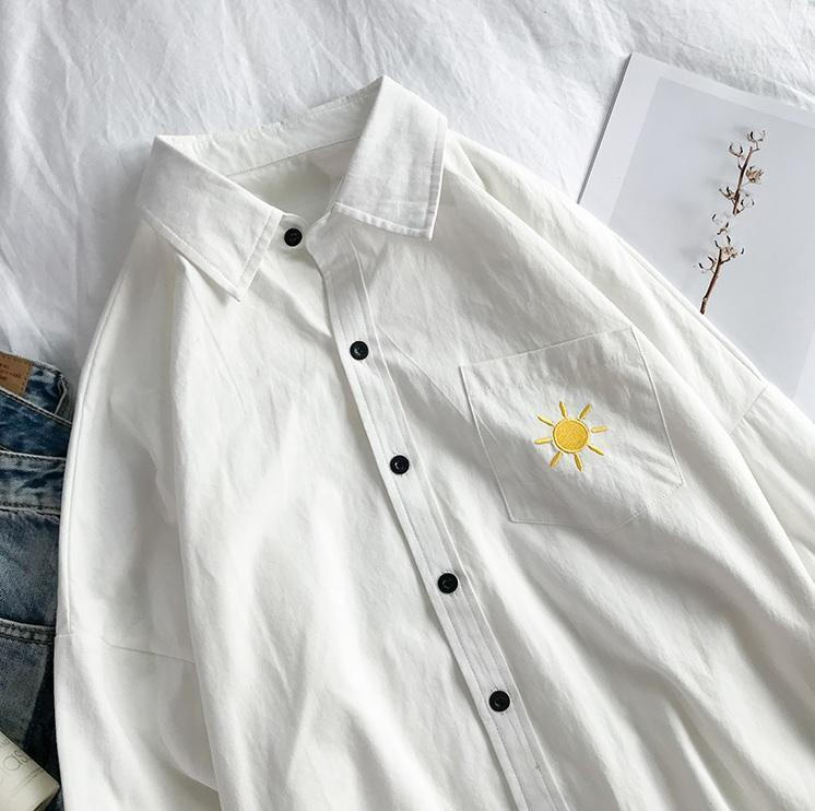 itGirl Shop CUTE POCKET EMBROIDERIES CASUAL BLOUSE