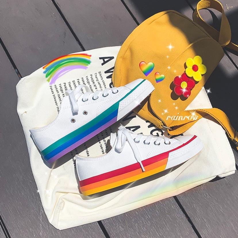 itGirl Shop CUTE RAINBOW SOLE CANVAS SNEAKERS