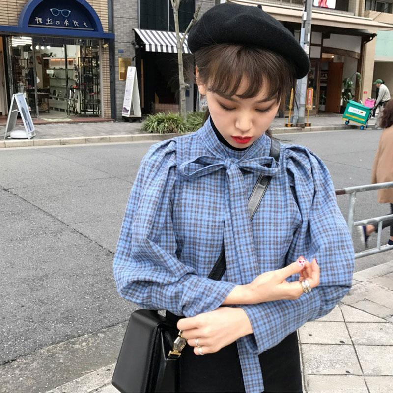 CUTE RIBBON PUFFED SLEEVES BLUE WHITE RETRO BLOUSE