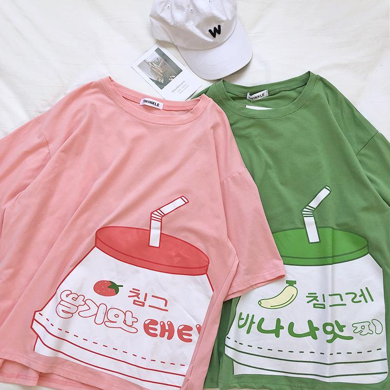 itGirl Shop CUTE STRAWBERRY MILK BOX PRINTED OVERSIZED T-SHIRT