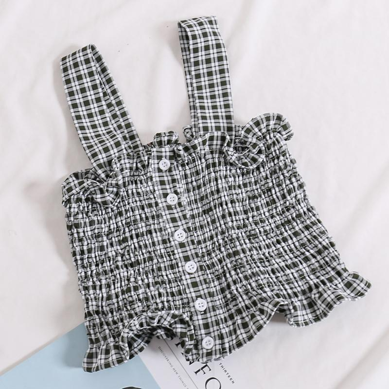 itGirl Shop CUTE SUMMER LOLITA STYLE SLEEVELESS FRONT BUTTONS PLAID CROP TOPS