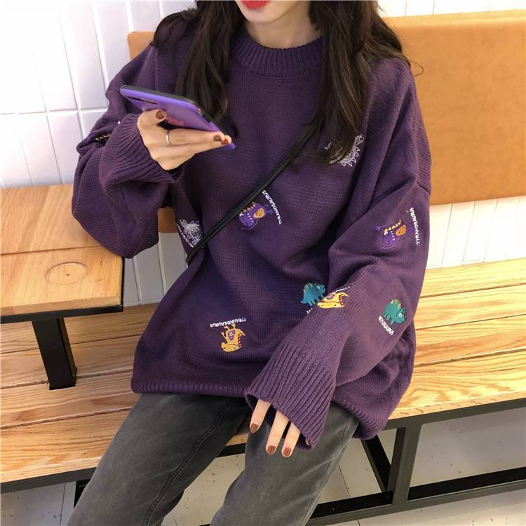 itGirl Shop CUTE TINY DINOSAURS TUMBLR AESTHETIC COLORFUL SWEATER
