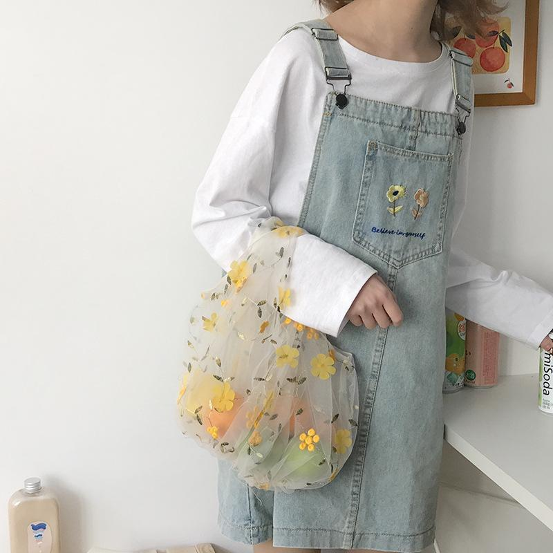 itGirl Shop CUTE TINY EMBROIDERED FLOWERS TRANSPARENT MESH BAG