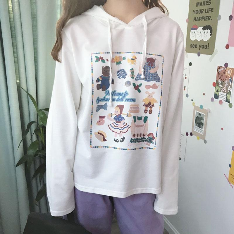 itGirl Shop CUTE TOYS PATTERN WHITE OVERSIZED HOODIE