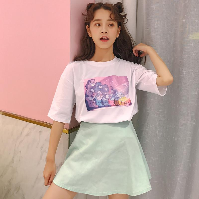 itGirl Shop D CARE BEARS SPREAD THE RAINBOW PRINT WHITE T-SHIRT Aesthetic Apparel, Tumblr Clothes, Soft Grunge, Pastel goth, Harajuku fashion. Korean and Japan Style looks