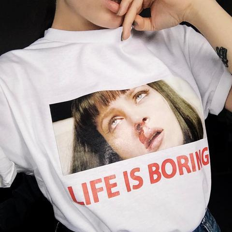 itGirl Shop D LIFE IS BORING MIA WALLACE PULP FICTION T-SHIRT Aesthetic Apparel, Tumblr Clothes, Soft Grunge, Pastel goth, Harajuku fashion. Korean and Japan Style looks