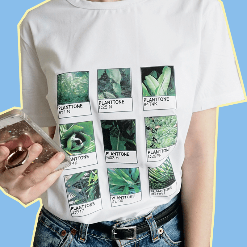 itGirl Shop D PLANTTONE PLANTS LEAF COLORS PRINT COTTON T-SHIRT