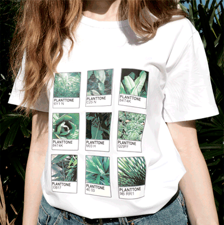 itGirl Shop D PLANTTONE PLANTS LEAF COLORS PRINT COTTON T-SHIRT Aesthetic Apparel, Tumblr Clothes, Soft Grunge, Pastel goth, Harajuku fashion. Korean and Japan Style looks