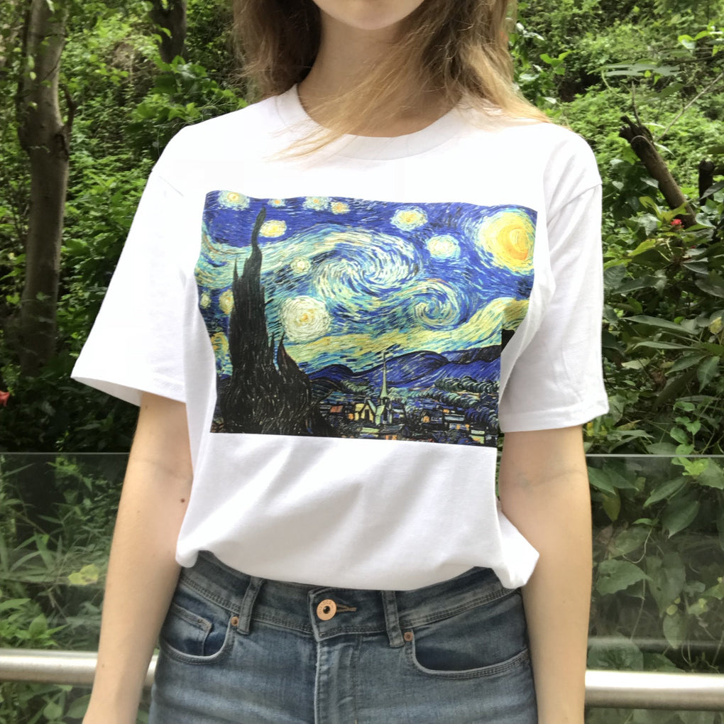 itGirl Shop D STARRY NIGHT VAN GOGH ART WHITE COTTON T-SHIRT