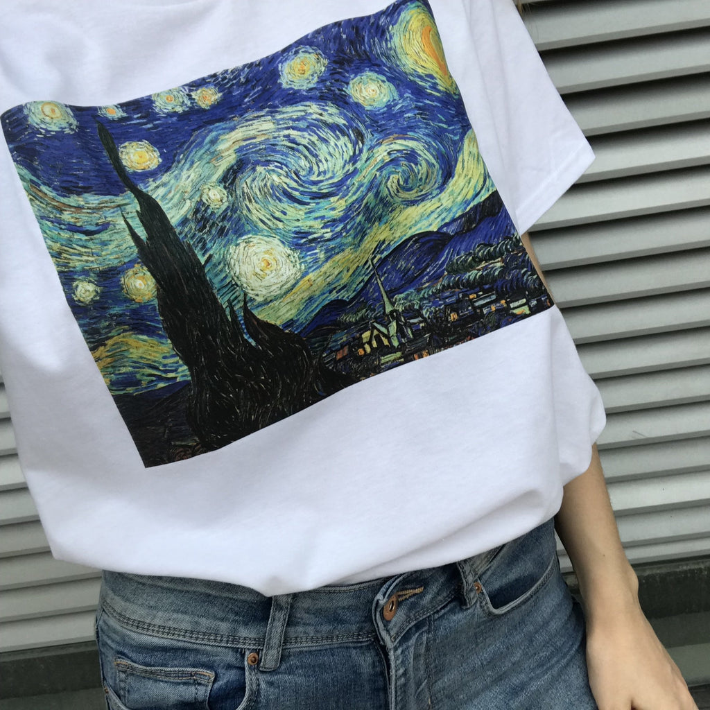 itGirl Shop D STARRY NIGHT VAN GOGH ART WHITE COTTON T-SHIRT Aesthetic Apparel, Tumblr Clothes, Soft Grunge, Pastel goth, Harajuku fashion. Korean and Japan Style looks