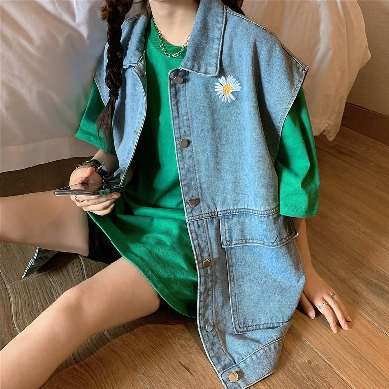 itGirl Shop DAISY EMBROIDERY ULZZANG DENIM SLEEVELES VEST