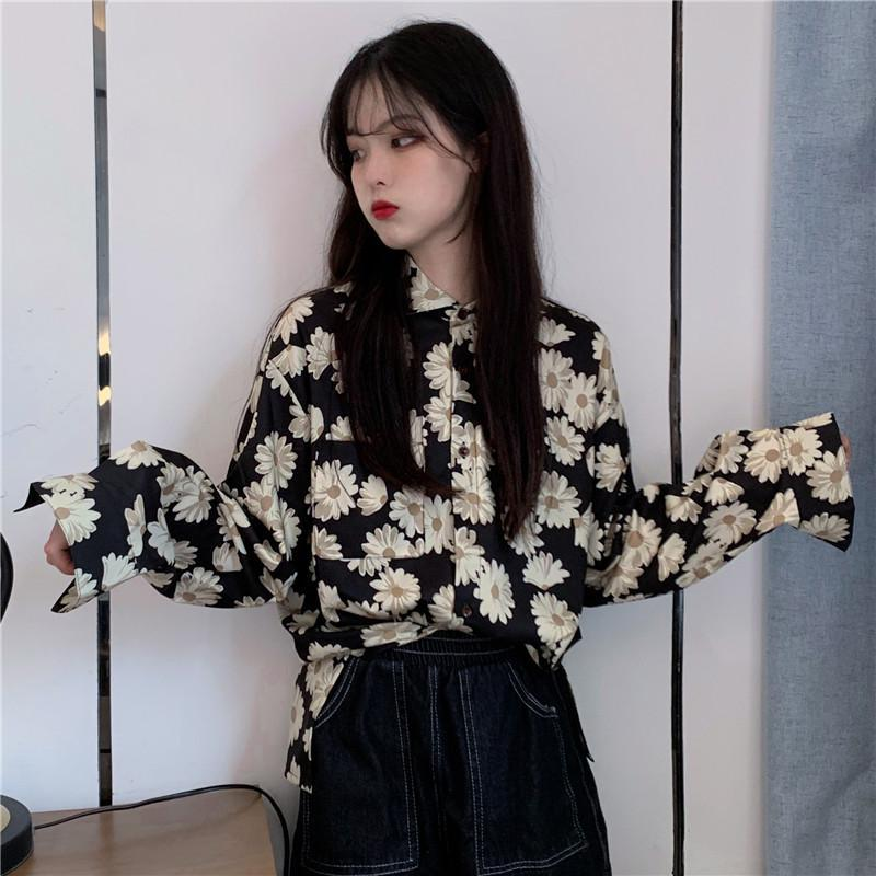 itGirl Shop DAISY FLOWERS PRINT CHIFFON LONG SLEEVE BLOUSE