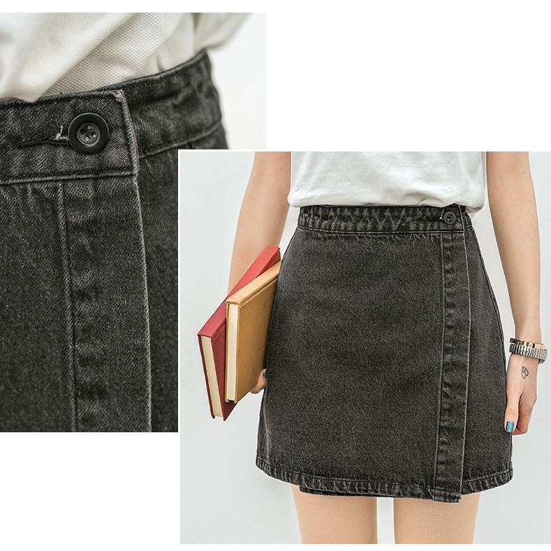 itGirl Shop DARK GRAY DENIM HIGH WAIST WRAP SKIRT