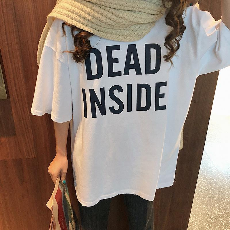 itGirl Shop DEAD INSIDE LETTERS PRINT YELLOW WHITE OVERSIZED T-SHIRT