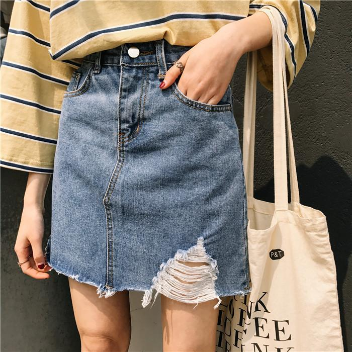 itGirl Shop DENIM ABOVE KNEE SIDE RIPPED CUTE SKIRT