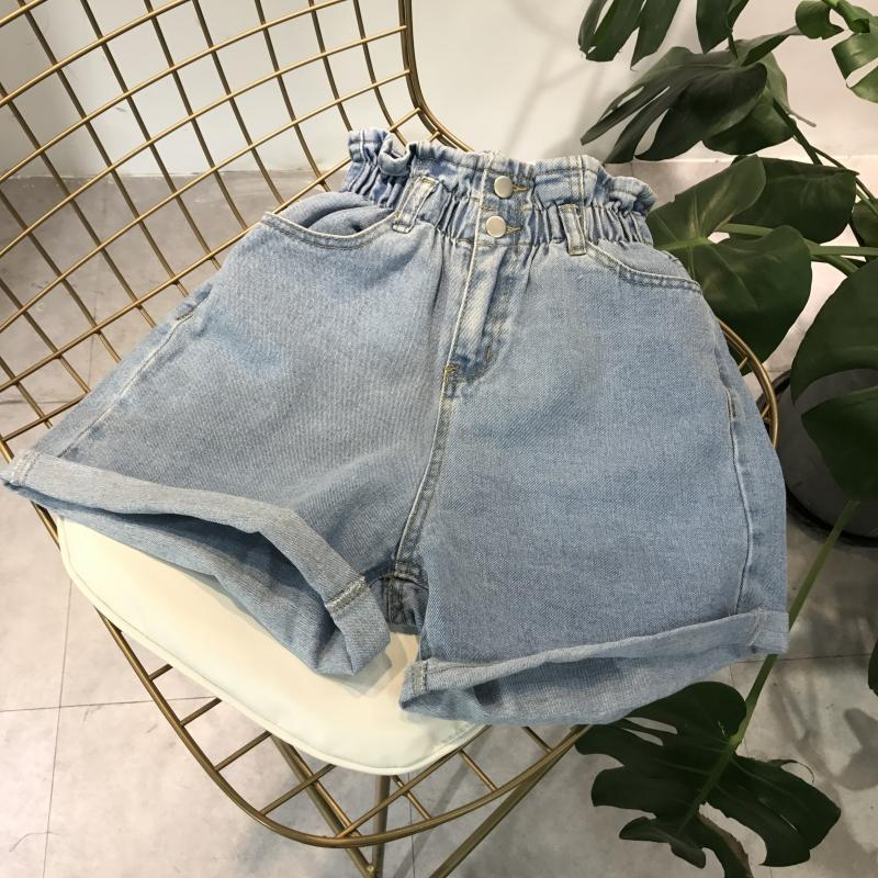 itGirl Shop DENIM ELASTIC HIGH WAIST TWO BUTTONS SHORTS