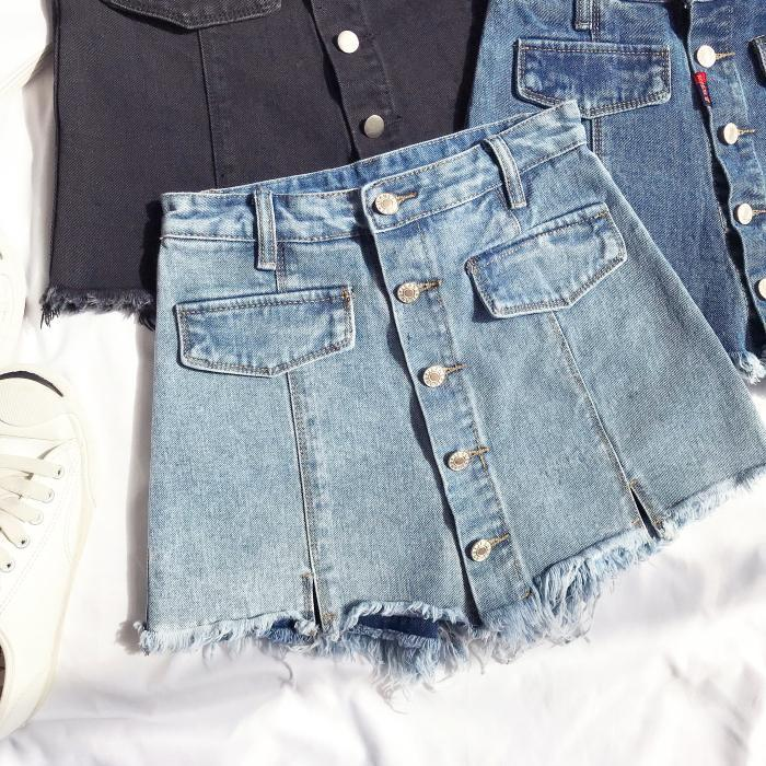 itGirl Shop DENIM FRONT BUTTONS JEAN SKIRT WITH HIDDEN SHORTS