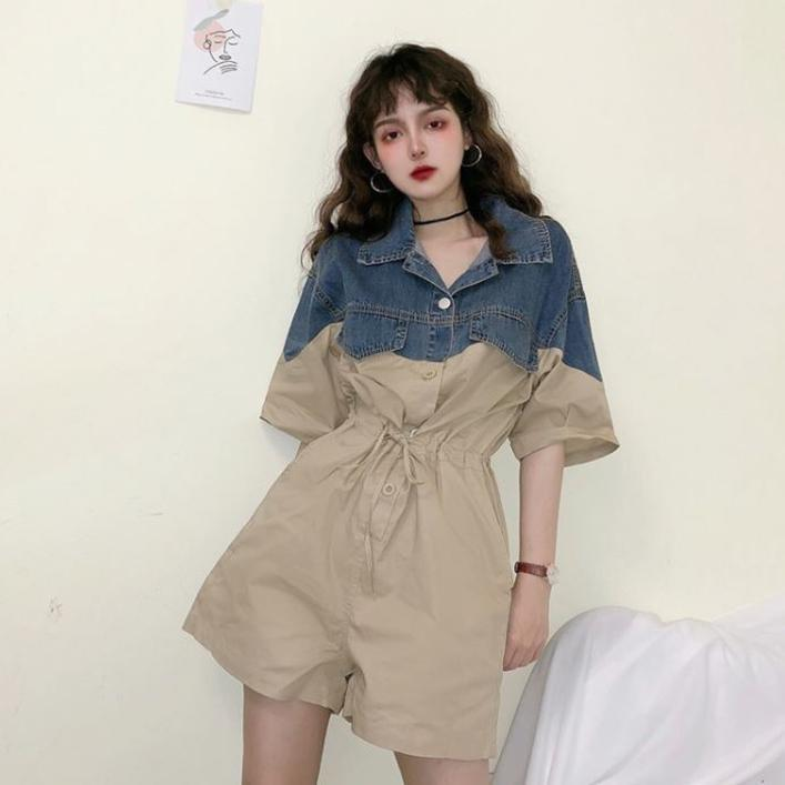 DENIM PATCHWORK DRAWSTRING ROMPER JUMPSUIT