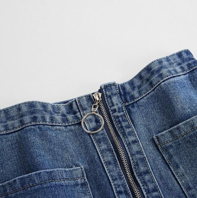 itGirl Shop DENIM POCKETS FRONT ZIPPER RING JEAN PENCIL ABOVE KNEE SKIRT
