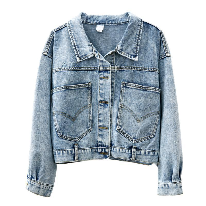 itGirl Shop DENIM POCKETS ON THE BACK OVERSIZED JACKET