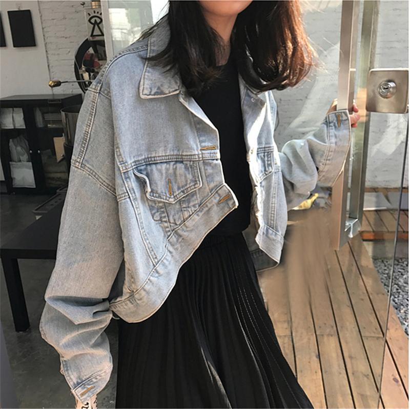 itGirl Shop DENIM RETRO WASHED BLUE LOOSE ASSYMETRIC JACKET