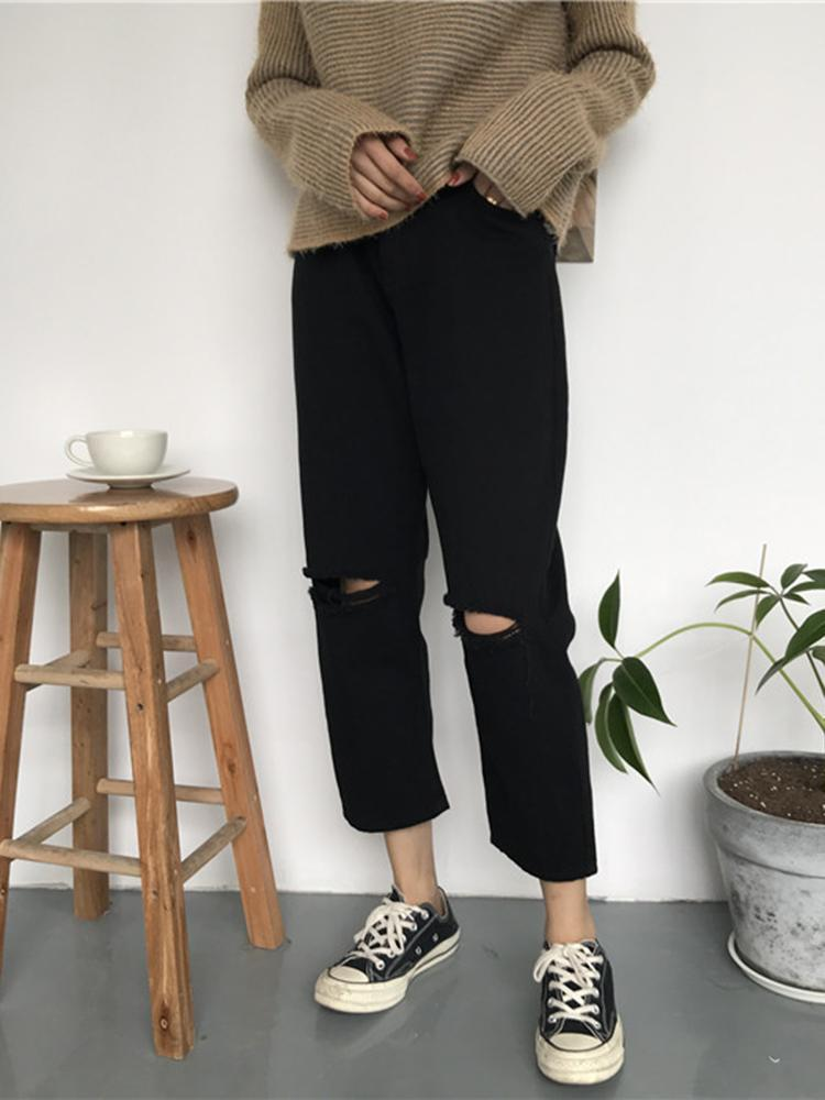 itGirl Shop DENIM RIPPED KNEE HOLES WHITE BLACK OVERSIZED JEANS
