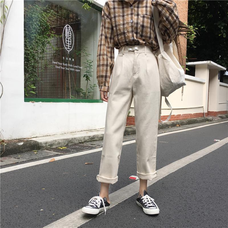 itGirl Shop DENIM SOLID COLORS HIGH WAIST STRAIGHT LOOSE PANTS