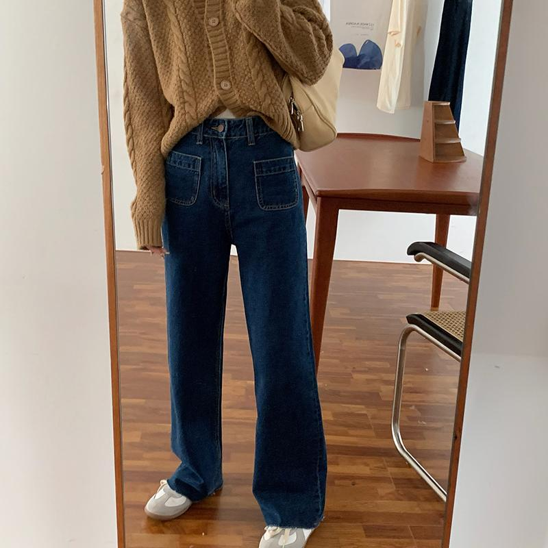 itGirl Shop DENIM STRAIGHT FRONT POCKET CROPPED 90s JEANS