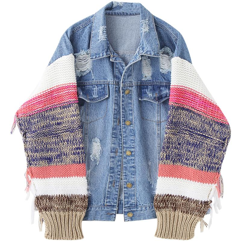 itGirl Shop DENIM STRIPED KNITTED SLEEVES HIPPIE OVERSIZED JACKET