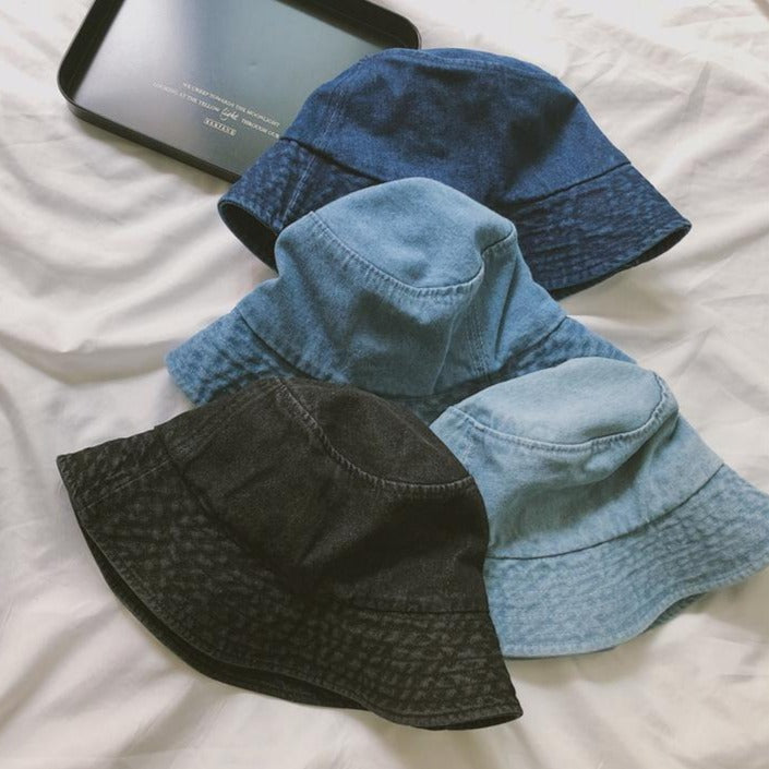 DENIM TEENAGE FASHION 90s FISHERMAN BUCKET HAT