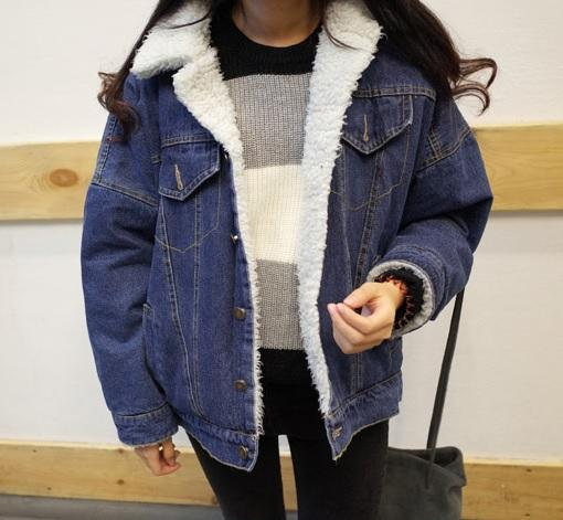 itGirl Shop DENIM WITE FLUFFY COLLAR BUTTONS OUTWEAR WARM JACKET Aesthetic Apparel, Tumblr Clothes, Soft Grunge, Pastel goth, Harajuku fashion. Korean and Japan Style looks
