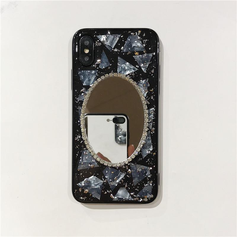 itGirl Shop DIAMONDS OVAL MIRROR BLACK TRANSPARENT IPHONE COVER CASE