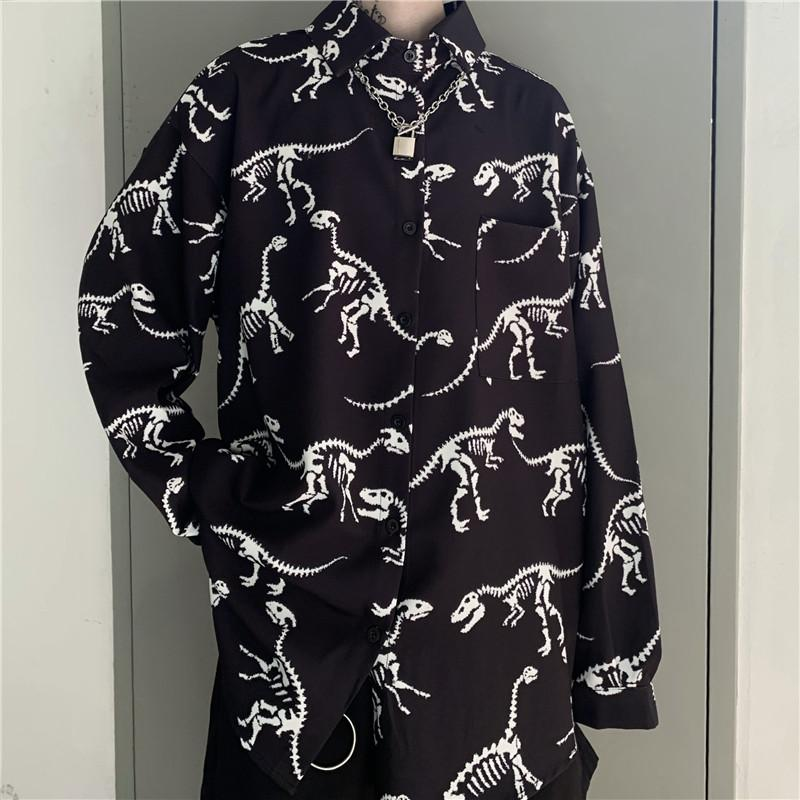itGirl Shop DINOSAUR BONES PRINTED GRUNGE LONG SLEEVE SHIRT