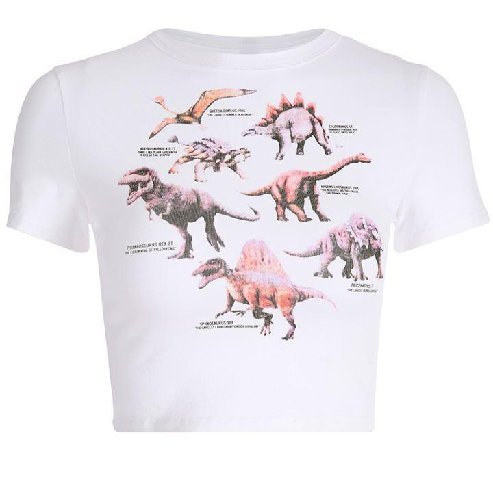 itGirl Shop DINOSAURS PRINTED WHITE SHORT SLEEVE CROPPED TOP