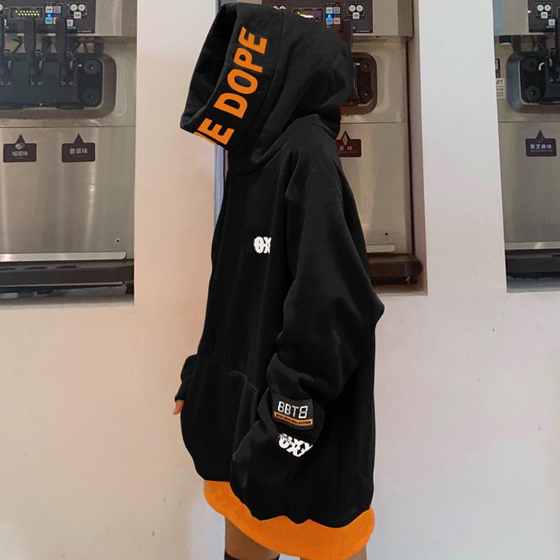 itGirl Shop DOPE LETTERS PRINT BLACK ORANGE OVERSIZED HOODED SWEATSHIRT