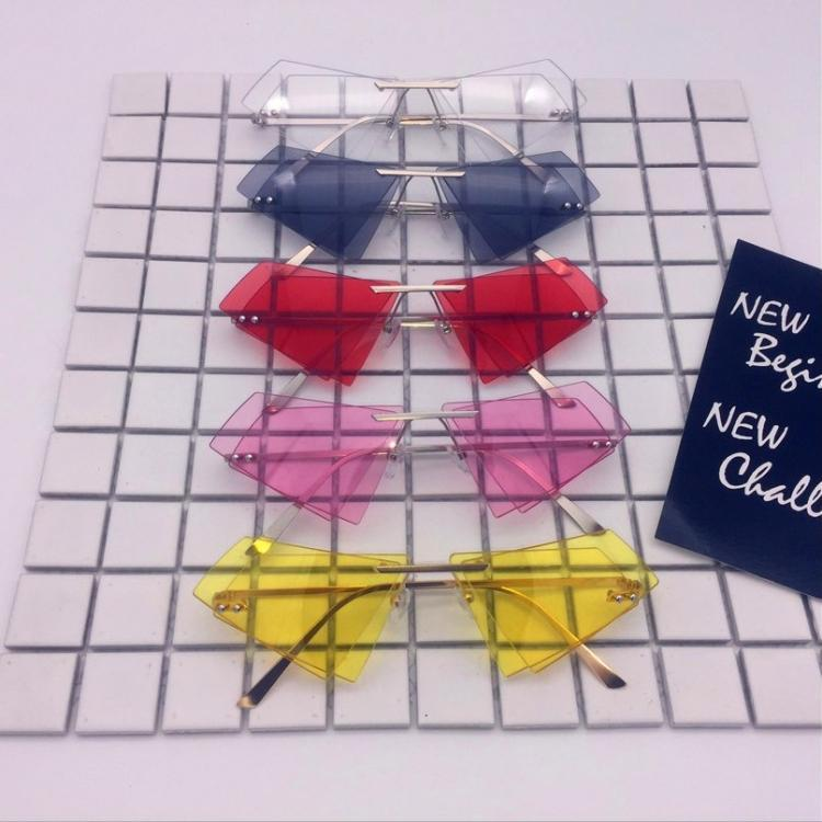itGirl Shop DOUBLE GLASS GEOMETRIC COLORFUL FRAMELESS SUNGLASSES