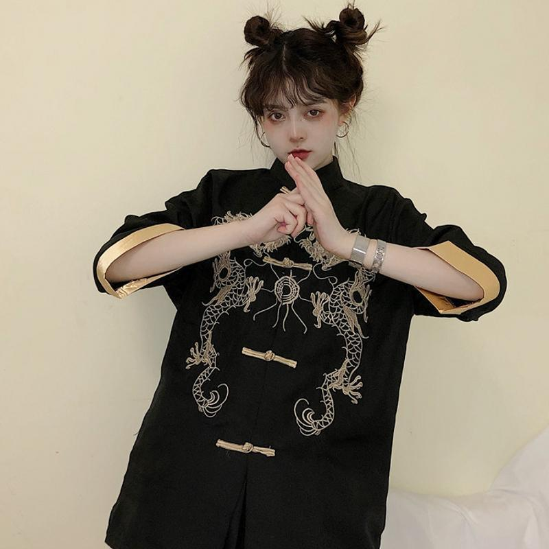 itGirl Shop DRAGON CHINESE STYLE EMBROIDERY ELEGANT LOOSE BLOUSE