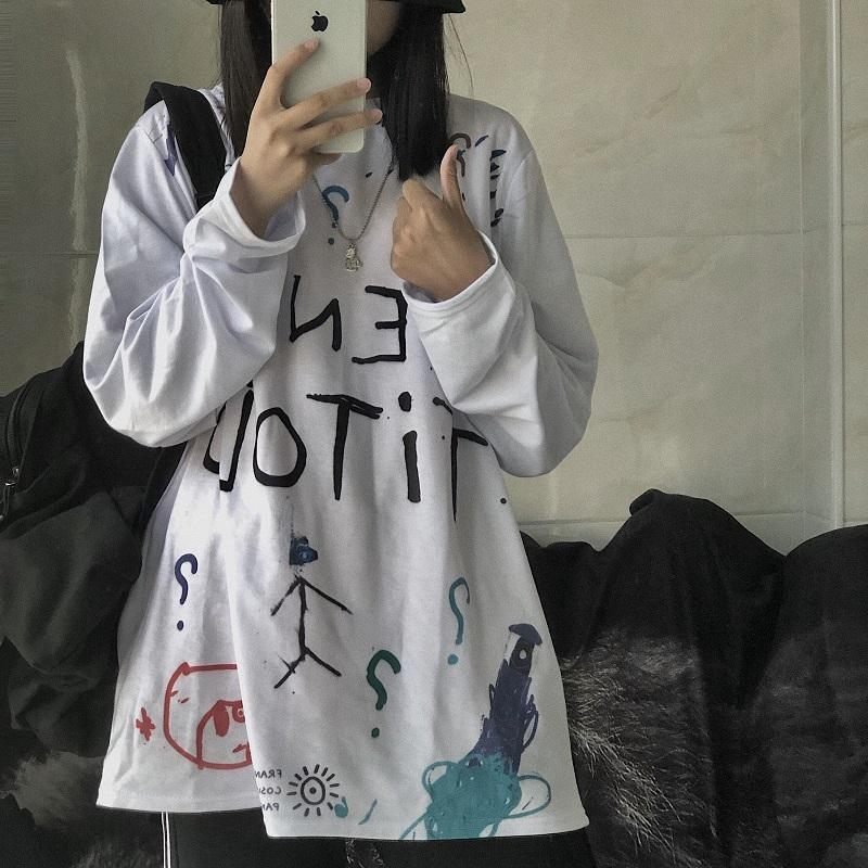 itGirl Shop DRAWINGS PRINT TUMBLR GRUNGE OVERSIZED LONG SLEEVE T-SHIRT