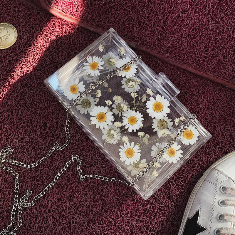 itGirl Shop DRIED DAISY FLOWERS AESTHETIC TRANSPARENT BAG