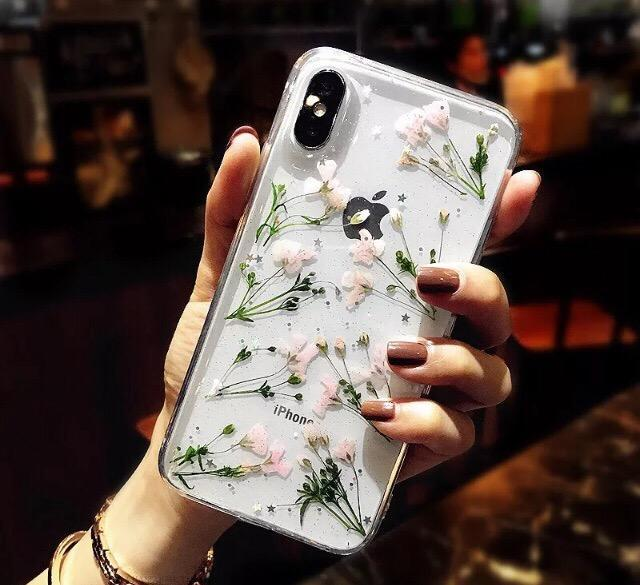 itGirl Shop DRIED FLORWERS SOFT TRANSPARENT IPHONE CASE