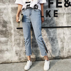 itGirl Shop EDGE SIDE LACEUP DENIM FLARED JEANS Aesthetic Apparel, Tumblr Clothes, Soft Grunge, Pastel goth, Harajuku fashion. Korean and Japan Style looks