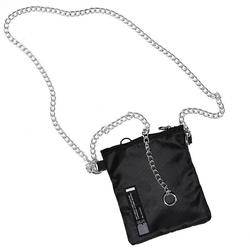 itGirl Shop EDGY SILVER CHAIN STRAP SMALL BLACK SHOULDER BAG