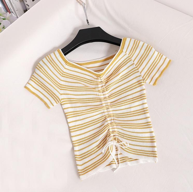 itGirl Shop ELASTIC COLORFUL STRIPES KNIT RIBBON TOP