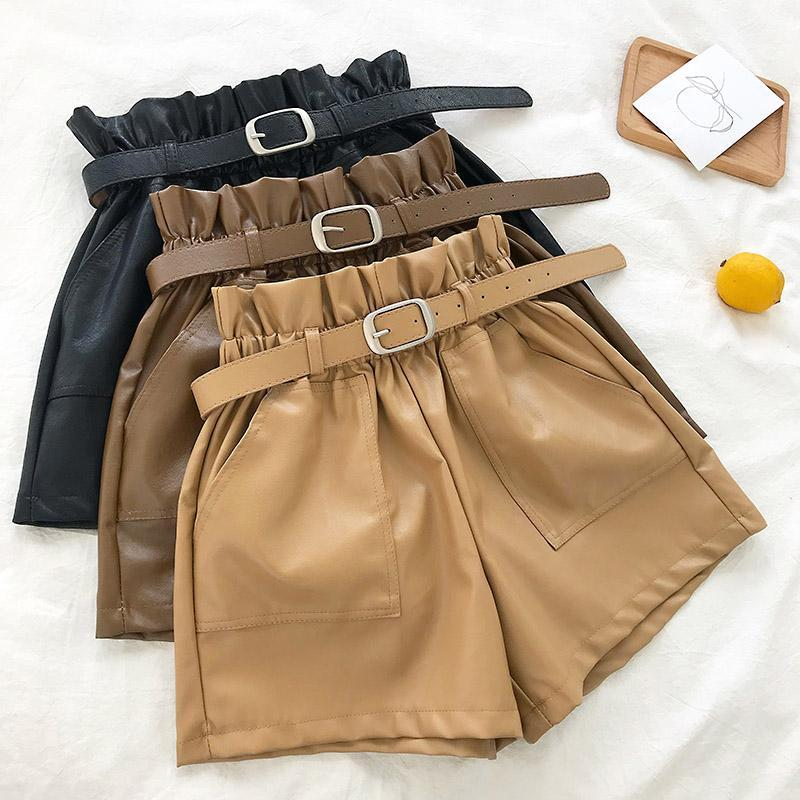 itGirl Shop ELASTIC WAIST DOUBLE POCKET LOOSE LEATHER SHORTS